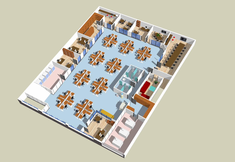 Distribuci n interior de nave industrial y oficinas for Distribucion de oficinas pequenas